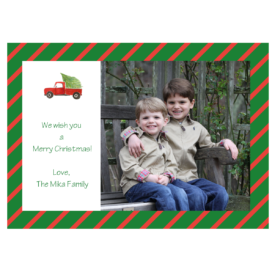Holiday Truck with Tree Striped 5x7 Photo Card