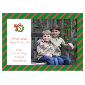 Wreath with Holly Striped 5x7 Photo Card