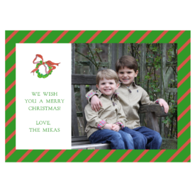 Wreath with Lights Striped 5x7 Photo Card
