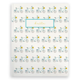 bicycle journal with white blank pages.