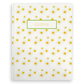 daisies image adorns a journal with blank pages.