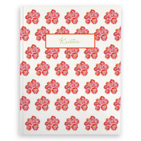 gerber daisies image adorns a journal with blank pages.
