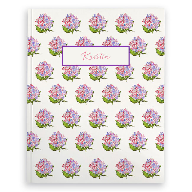 hydrangea image adorns a journal with blank pages.