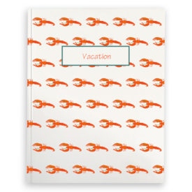 lobster image adorns a journal with blank pages.