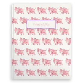 Pink Elephant image adorns a Journal with blank pages.