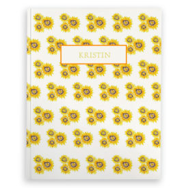 sunflowers image adorns a journal with blank pages
