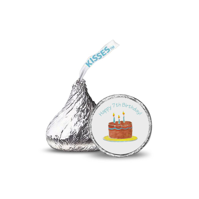 birthday cake image adorns a candy sticker that fits on the bottom of a Hershey's kiss.