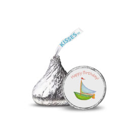 Boat Candy Sticker that fits on the bottom of a Hershey's Kiss.