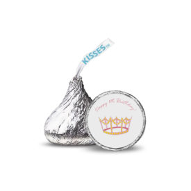 crown image printed on a candy sticker that fits on the bottom of a Hershey's kiss.