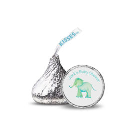 Elephant Candy Sticker printed on small rounds labels that fit on the bottom of a Hershey's kiss.