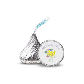 flowers with cup image printed on a candy sticker that fits on the bottom of a Hershey's kiss.