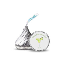 margarita image adorns a candy sticker that fits on the bottom of a Hershey's kiss.