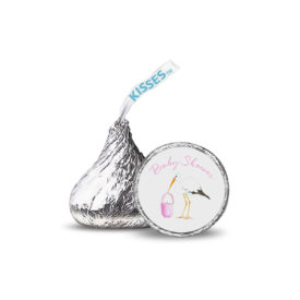 pink stork image printed on a candy sticker that fits on the bottom of a Hershey's kiss.