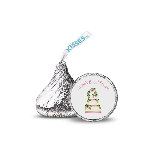 white wedding cake image adorns a candy sticker that fits on the bottom of a Hershey's kiss.