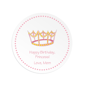 Crown image adorns a Round Gift Sticker