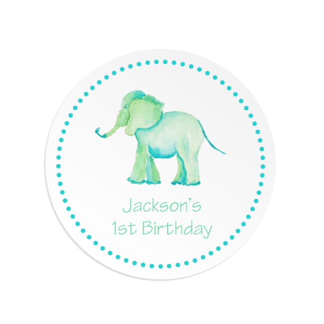 elephant round gift sticker