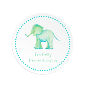 elephant image adorns a round gift sticker