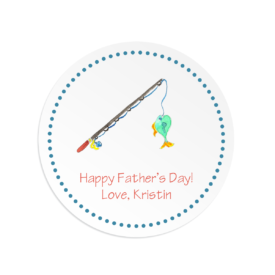 fishing rod image adorns a round gift sticker