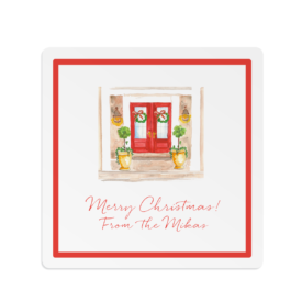 Holiday House Square Gift Sticker