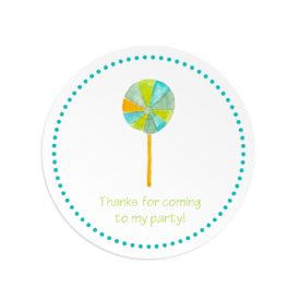 Lollypop image adorns a Round Gift Sticker