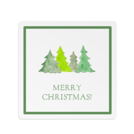 Christmas Trees Square Gift Sticker