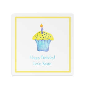 Cupcake image adorns a Square Gift Sticker