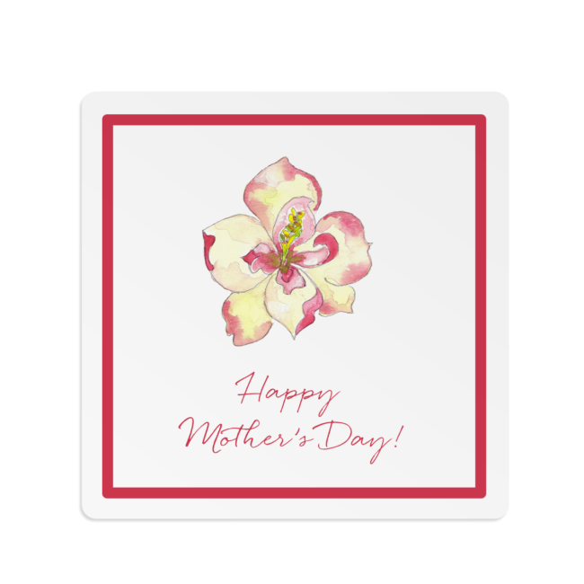 magnolia flower adorns a square gift sticker
