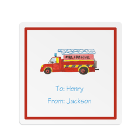 firetruck square gift sticker
