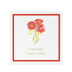 gerber daisies adorn a square gift sticker