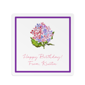 hydrangea image adorns a square gift sticker