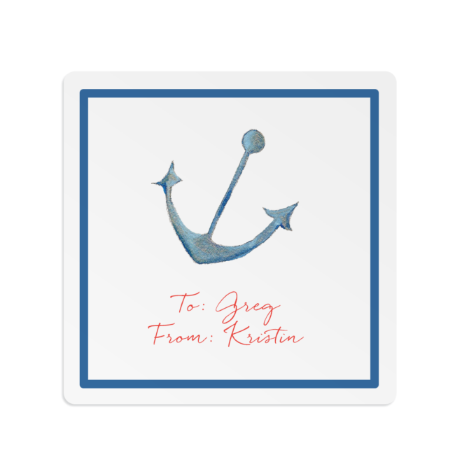 anchor image adorns a square gift sticker