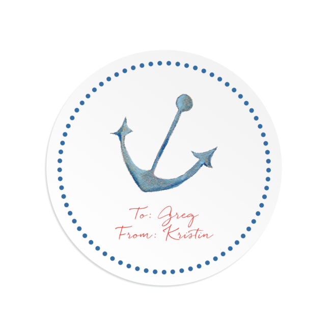 anchor image on a round gift sticker