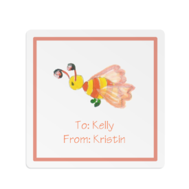 bee image adorns a square gift sticker