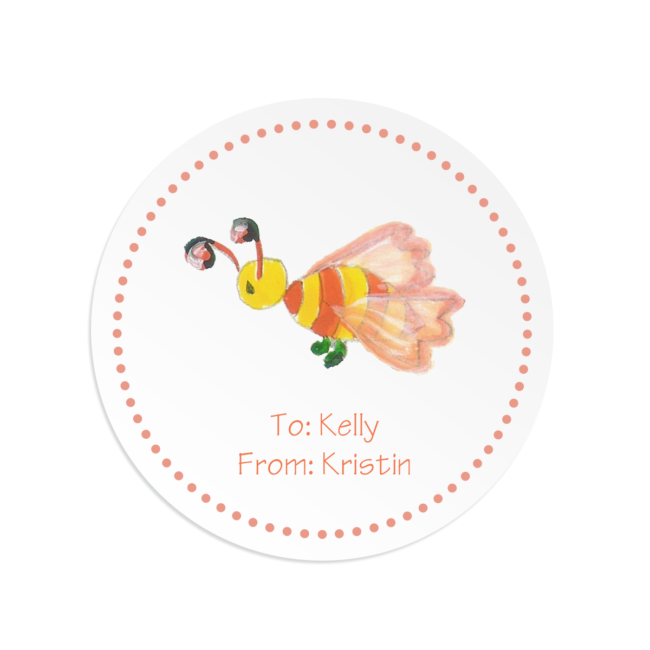 bee image on a round gift sticker