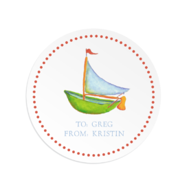 boat image adorns a round gift sticker