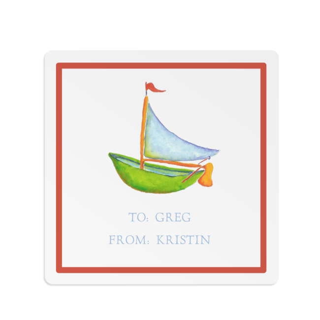 boat image adorns a square gift sticker