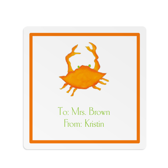 orange crab image adorns a square gift sticker
