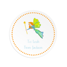fairy image adorns a round gift sticker