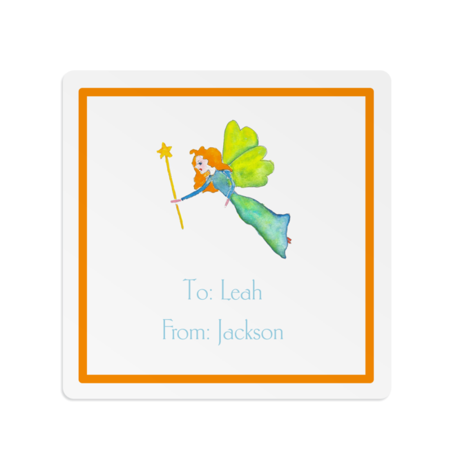 fairy image adorns a square gift sticker