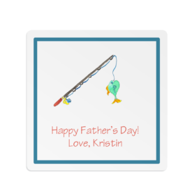 fishing image adorns a square gift sticker