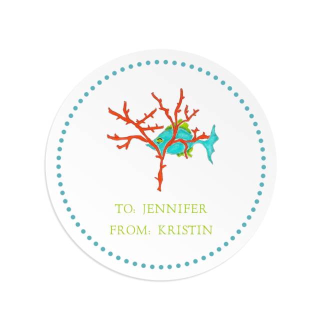 fish with coral image adorns a round gift sticker