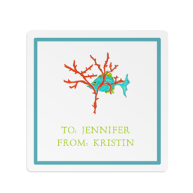 fish with coral square gift sticker
