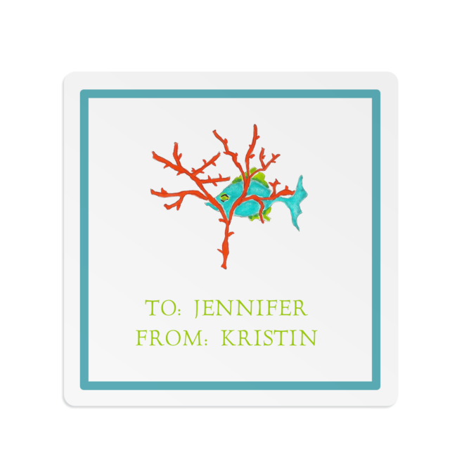 fish with coral image adorns a square gift sticker