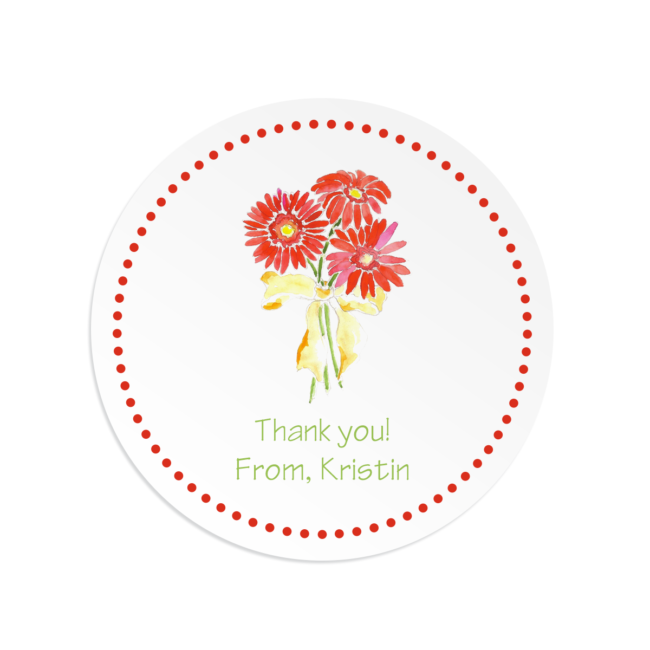gerber daisies image adorns a round gift sticker