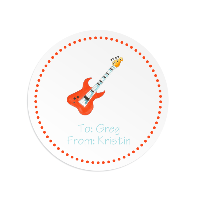 guitar image adorns a round gift sticker