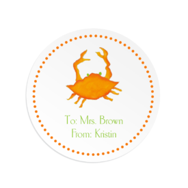 orange crab image adorns a round gift sticker