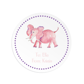 pink elephant image adorns a round gift sticker