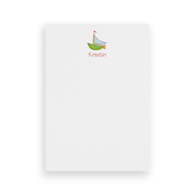Boat image adorns a Classic Notepad printed on White paper.