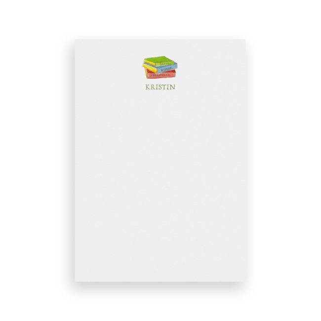 Books image adorns Classic Notepads printed on White paper.