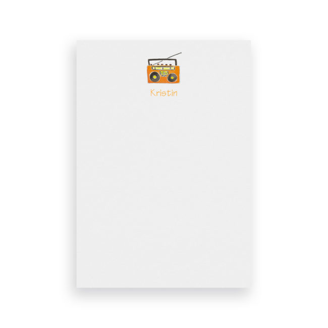 boom box classic notepad printed on White paper.